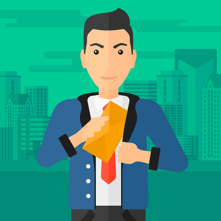 bribery: A businessman putting an envelope in his pocket on the background of modern city vector flat design illustration. Square layout.