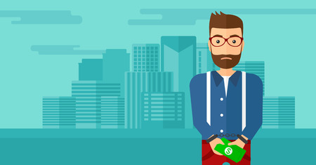 A hipster man with the beard in handcuffs with money in hands on the background of modern city vector flat design illustration. Horizontal layout.