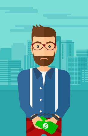 prisoner of the money: A hipster man with the beard in handcuffs with money in hands on the background of modern city vector flat design illustration. Vertical layout.