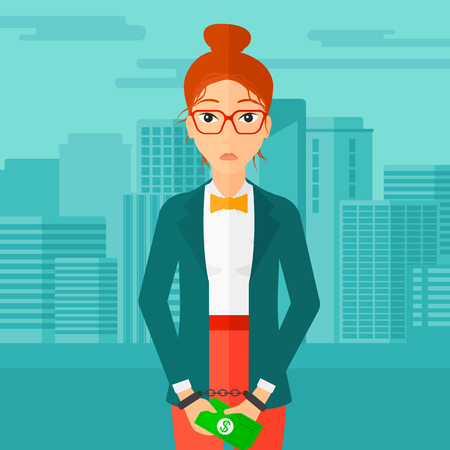prisoner of the money: A business woman in handcuffs with money in hands on the background of modern city vector flat design illustration. Square layout.