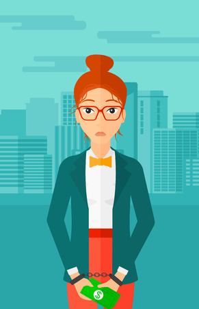 A business woman in handcuffs with money in hands on the background of modern city vector flat design illustration. Vertical layout.