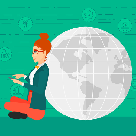 A woman sitting near a globe model with a smartphone in hands on a green background with technology and business icons vector flat design illustration. Square layout.