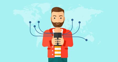 A hipster man with the beard holding smartphone connected with the whole world on a blue background vector flat design illustration. Horizontal layout. Illustration