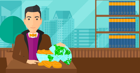 A man sitting at the table with a globe model full of coins on the background of panoramic modern office with city view vector flat design illustration. Horizontal layout.