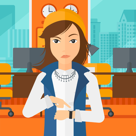 A woman pointing at wrist watch on the background of panoramic modern office with city view vector flat design illustration. Square layout.