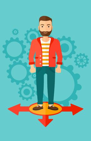 A hipster man with the beard standing on three alternative ways on a blue background with cogwheels vector flat design illustration. Vertical layout. Illustration