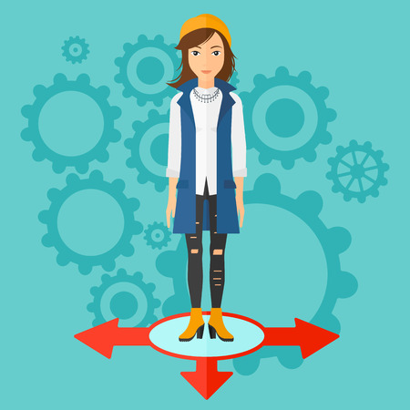 hesitate: A woman standing on three alternative ways on a blue background with cogwheels vector flat design illustration. Square layout. Illustration