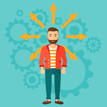 A hipster man with many arrows around him on a blue background with cogwheels vector flat design illustration. Square layout.