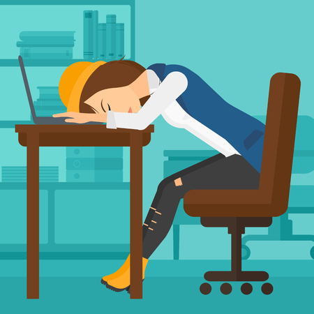 sleepy woman: Tired employee sleeping at workplace on laptop keyboard on the background of office vector flat design illustration. Square layout.