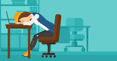 business desk: Tired employee sleeping at workplace on laptop keyboard on the background of office vector flat design illustration. Horizontal layout. Illustration