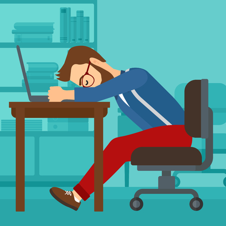 Tired employee sleeping at workplace on laptop keyboard on the background of office vector flat design illustration. Square layout.