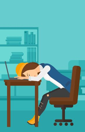 exhaustion: Tired employee sleeping at workplace on laptop keyboard on the background of office vector flat design illustration. Vertical layout.