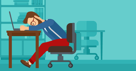 exhaustion: Tired employee sleeping at workplace on laptop keyboard on the background of office vector flat design illustration. Horizontal layout. Illustration