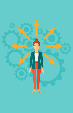 A woman with many arrows around her on a blue background with cogwheels vector flat design illustration. Vertical layout.