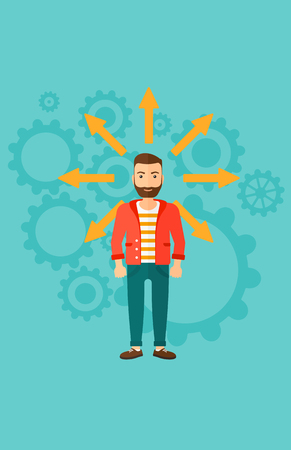 A hipster man with many arrows around him on a blue background with cogwheels vector flat design illustration. Vertical layout.