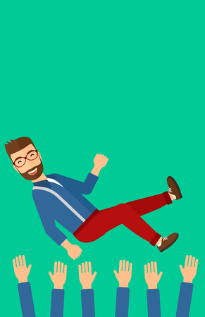 arms lifted up: A businessman get thrown into the air by coworkers during celebration on a green background vector flat design illustration. Vertical layout. Illustration