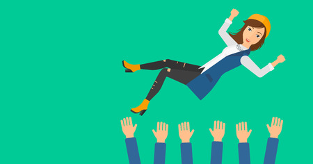 hands lifted up: A business woman get thrown into the air by coworkers during celebration on a green background vector flat design illustration. Horizontal layout. Illustration