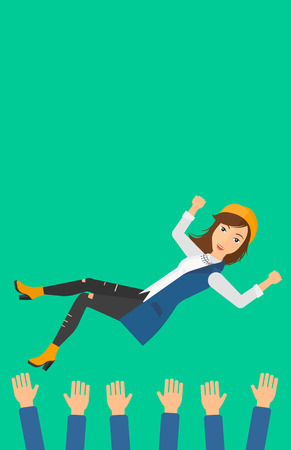 hands lifted up: A business woman get thrown into the air by coworkers during celebration on a green background vector flat design illustration. Vertical layout.