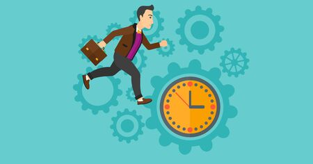 lateness: A man with suitcase running on clock and gears background vector flat design illustration. Horizontal layout.