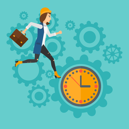 design: A woman with suitcase running on clock and gears background vector flat design illustration. Square layout.