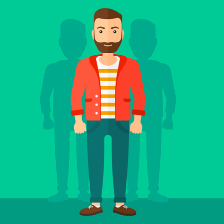 coworkers: A hipster man with some shadows of his coworkers behind him on a green background vector flat design illustration. Square layout. Illustration
