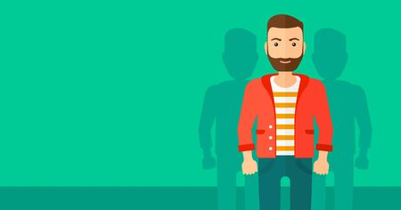 coworkers: A hipster man with some shadows of his coworkers behind him on a green background vector flat design illustration. Horizontal layout.