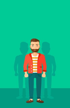 coworkers: A hipster man with some shadows of his coworkers behind him on a green background vector flat design illustration. Vertical layout. Illustration
