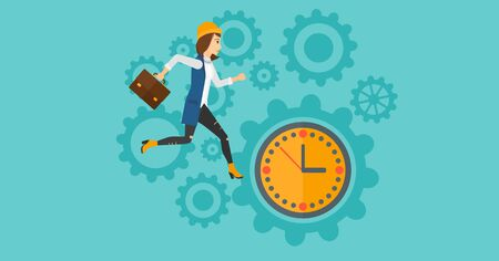 lateness: A woman with suitcase running on clock and gears background vector flat design illustration. Horizontal layout. Illustration