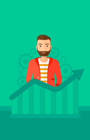 A hipster man with the beard standing behind growing chart on a green background with cogwheels vector flat design illustration. Vertical layout. 向量圖像