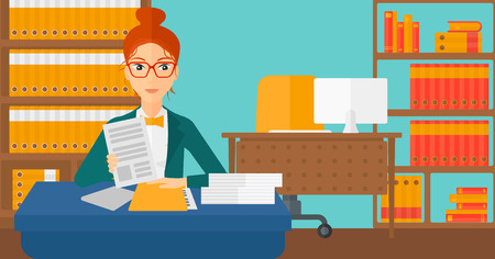 A human resources manager reading application portfolios on the background of office vector flat design illustration. Horizontal layout.