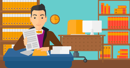 human resources manager: A human resources manager reading application portfolios on the background of office vector flat design illustration. Horizontal layout.