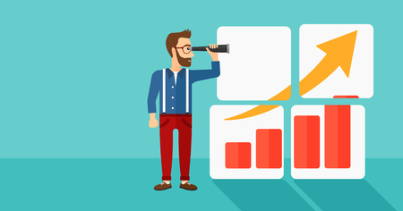 expanding: A hipster man with the beard looking through a spyglass at a positive bar chart on a blue background vector flat design illustration. Horizontal layout.