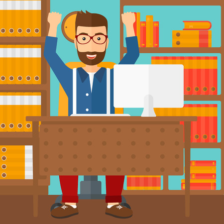A hipster man with raised hands sitting at the table on the background of office vector flat design illustration. Square layout. Illustration