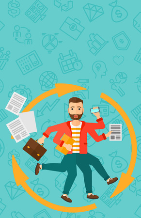 A hipster man with many hands holding papers, suitcase, devices on a blue background with business icons vector flat design illustration. Vertical layout.