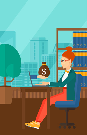 woman laptop: A woman sitting at the table and a bag of money coming out of her laptop on the background of panoramic modern office with city view vector flat design illustration. Vertical layout. Illustration