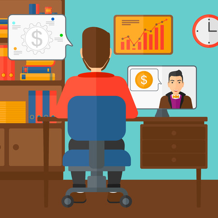negotiation: A man sitting in the office and talking with other man using video chat vector flat design illustration. Square layout. Illustration