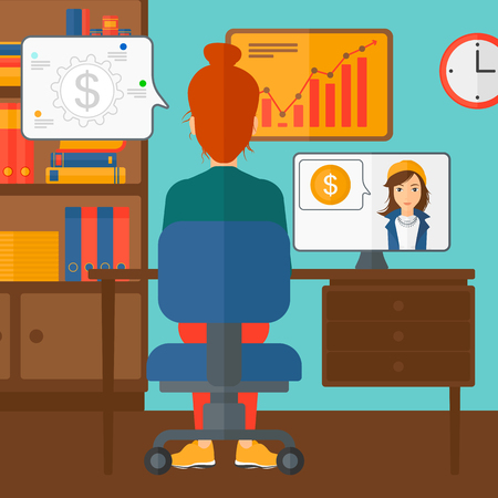 A woman sitting in the office and talking with other woman using video chat vector flat design illustration. Square layout.