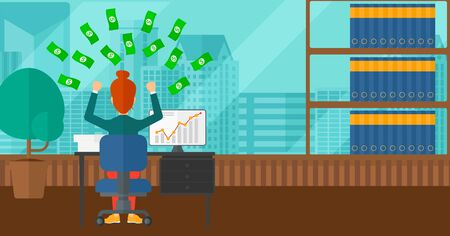 A woman sitting in front of computer with raised hands and money flying above her on the background of panoramic modern office with city view vector flat design illustration. Horizontal layout.