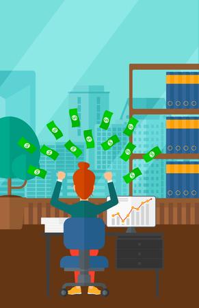 dinero volando: Una mujer que se sienta delante del ordenador con las manos levantadas y dinero volando por encima de ella en el fondo de la oficina moderna panorámica con vistas a la ciudad de vector diseño plano. disposición vertical.