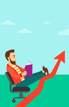 lay: A hipster man with the beard sitting in chair with a book in hands while his legs lay on an uprising arrow on the background of blue sky vector flat design illustration. Vertical layout.