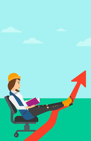 lay: A woman sitting in chair with a book in hands while her legs lay on an uprising arrow on the background of blue sky vector flat design illustration. Vertical layout.