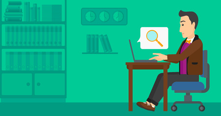A businessman sitting in the office and doing an internet search using a laptop on the background of office vector flat design illustration. Horizontal layout.
