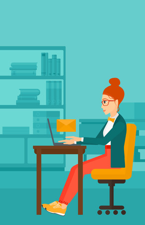 woman laptop: A woman sitting at the table in front of laptop with a big envelope above on the background of office vector flat design illustration. Vertical layout. Illustration