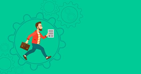 energy work: A hipster man with a suitcase and a file in hands running inside a big cogwheel on a green background with cogwheels vector flat design illustration. Horizontal layout.