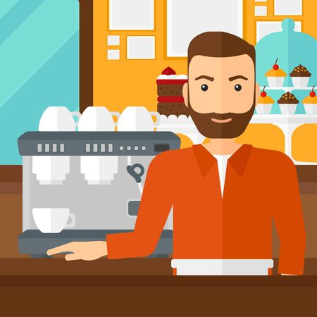 A hipster man with the beard standing near coffee maker on the background of bakery vector flat design illustration. Square layout.