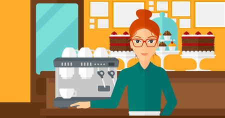 business service: A woman standing near coffee maker on the background of bakery vector flat design illustration. Horizontal layout. Illustration
