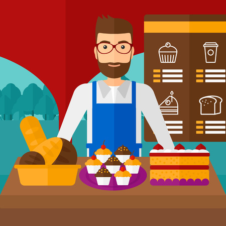 proprietor: A hipster man with the beard standing in front of table with pastry on the background of bakery vector flat design illustration. Square layout.