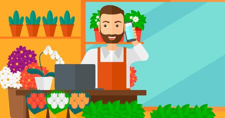 proprietor: A hipster man with the beard taking an order by phone on the background of flower shop vector flat design illustration. Horizontal layout. Illustration