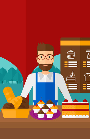 proprietor: A hipster man with the beard standing in front of table with pastry on the background of bakery vector flat design illustration. Vertical layout.
