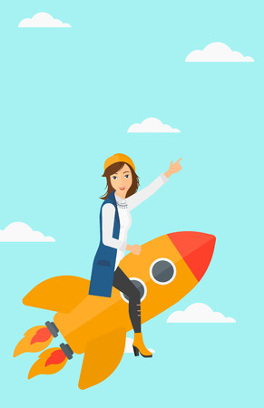 woman pointing up: A woman flying on the rocket with a forefinger pointing up on the background of blue sky vector flat design illustration. Vertical layout. Illustration